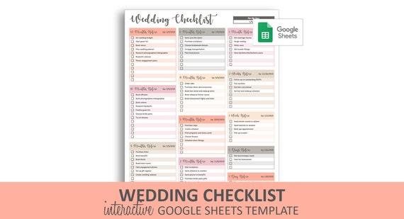 photograph about Printable Wedding Checklist Timeline called Peachy Marriage ceremony List - Google Sheets Template Editable Checkable Printable Marriage Timeline In the direction of-Do Listing Quick Electronic Obtain