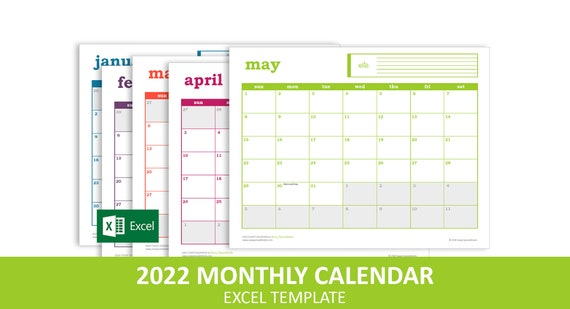 2022 Events Calendar.Easy Event Calendar 2022 Excel Template Printable Monthly Etsy
