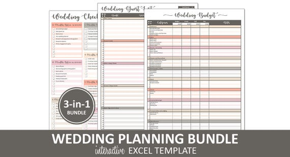 peachy wedding bundle wedding planning printable excel etsy