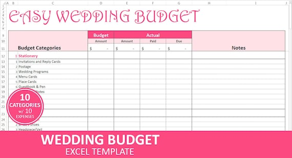 easy wedding budget pink wedding budget planner excel