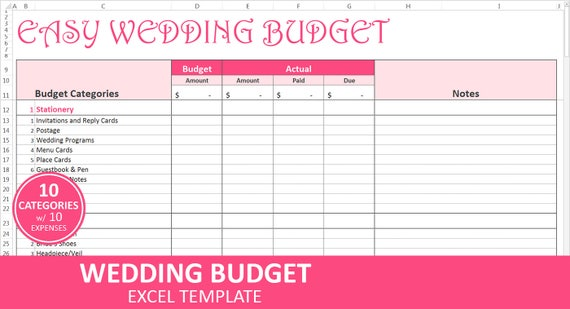 easy wedding budget pink wedding budget planner excel etsy