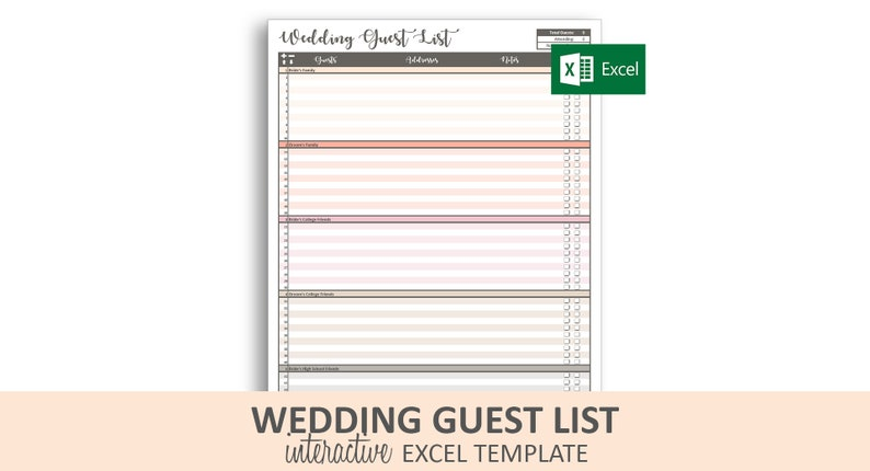 photograph regarding Printable Wedding Guest Lists known as Peachy Wedding ceremony Visitor Listing - Excel Template Printable Marriage RSVP Tracker  30 Groups 900 Visitors Prompt Electronic Obtain