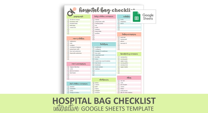 picture regarding Printable Hospital Bag Checklist identified as Medical center Bag List - Google Sheets Template Editable Checkable Printable Clean Youngster Packing Listing Instantaneous Electronic Down load