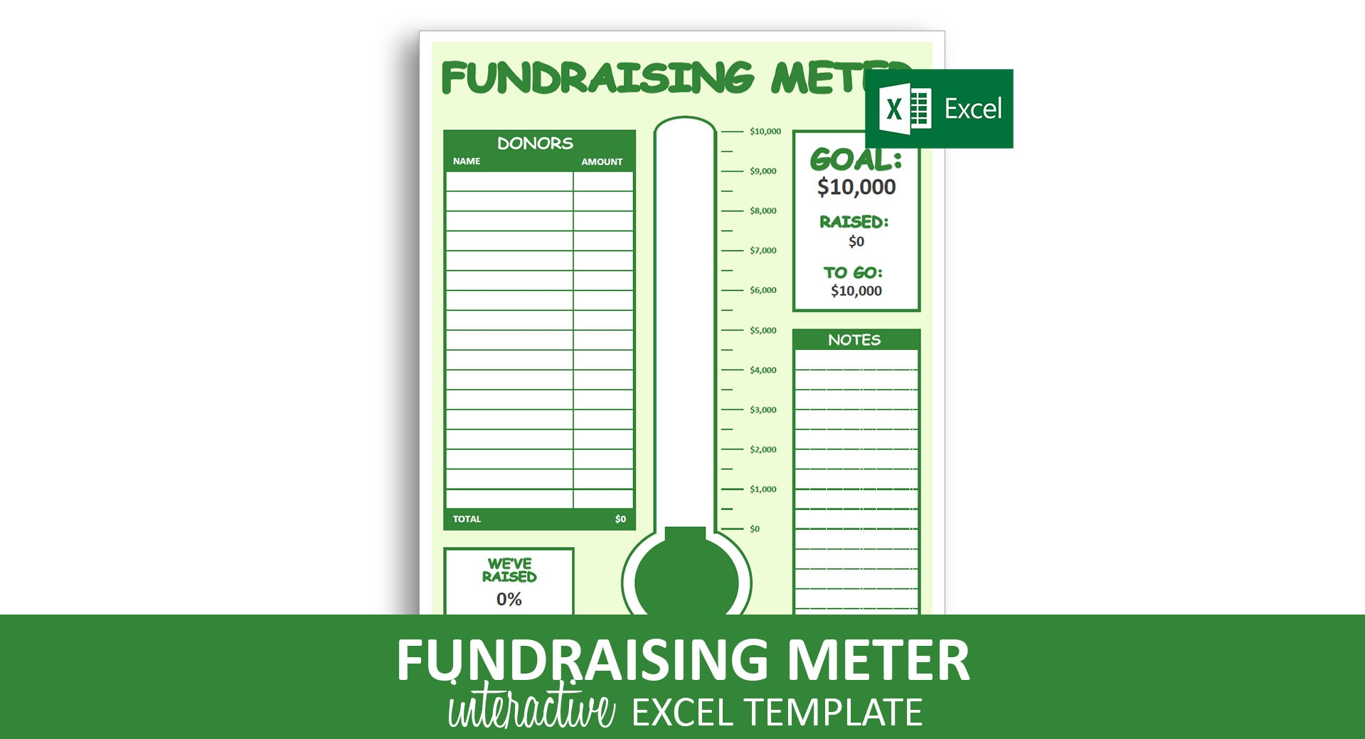fundraising meter excel template donor tracking list