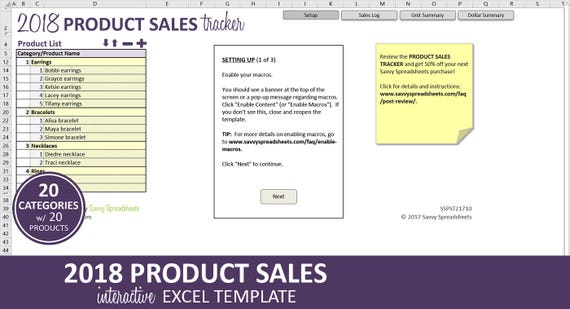 Product Sales Tracker 2018 Business Sales Report Excel Etsy