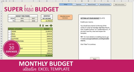 super basic budget monthly budget planner excel template etsy