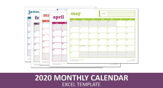 Einfach Event-Kalender 2020 Druckbare Excel | Etsy
