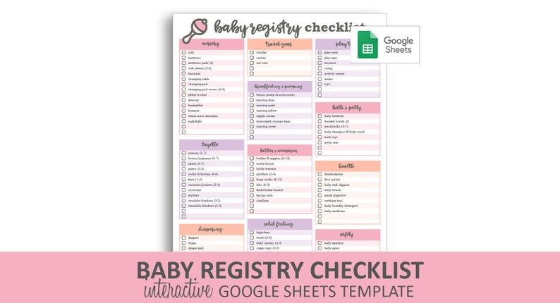 photo regarding Printable Baby Registry Checklist referred to as Kid Registry Listing - Purple - Google Sheets Template Editable Checkable Printable Little one Shower Present Registry Quick Electronic Obtain
