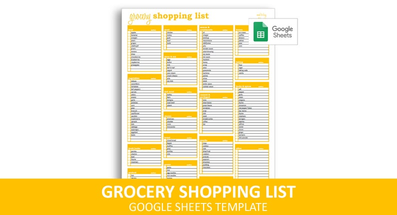 image about Printable Grocery Shopping List identify Grocery Searching Listing - Google Sheets Template Editable Printable Grocery List Fast Electronic Obtain