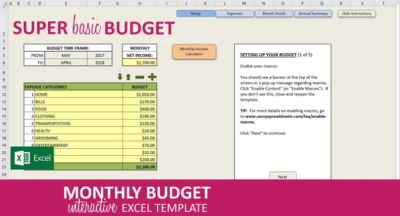Super Basic Budget - Excel Template | Monthly Budget Spreadsheet | Savings  and Expenses Tracker | 20 Expenses | Instant Digital Download