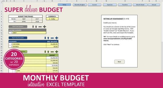 Super Deluxe Budget Monatliche Budget-Planer-Excel-Vorlage | Etsy