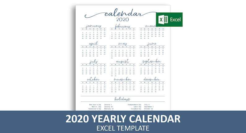 2020 Annual Calendar.Elegant Yearly Calendar 2020 Excel Template Printable Annual Calendar Instant Digital Download