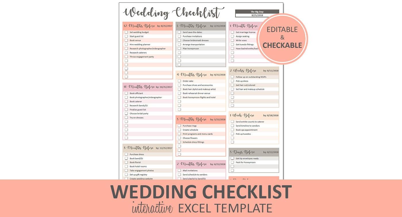 Pfirsich Hochzeitscheckliste Hochzeit druckbare und