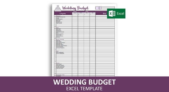 graphic about Printable Wedding Budget Checklist called Uncomplicated Marriage ceremony Finances - Excel Template Editable Printable Marriage Charges Tracker 10 Classes 100 Costs Instantaneous Electronic Obtain