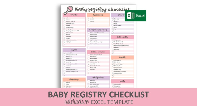 Baby Registry Checklist - Pink - Excel Template | Editable Checkable  Printable Baby Shower Gift Registry | Instant Digital Download