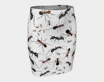 4c6d3d10ed ANTS Pencil Skirt Insect Nature Art Black White Red S-M-L-XL Wearable Art  Clothing Clothes Ladies Women Teen Fitted Stretchy