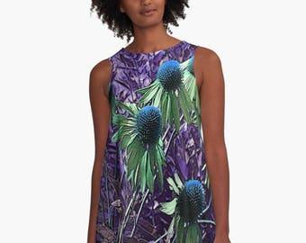 ad58846d5f1 Purple Purpurea A-Line Swing Dress Trapeze Dress XS S M L XL 2XL Floral  Flower Plant Nature Black Green Woman Teen Wearable Art Clothing