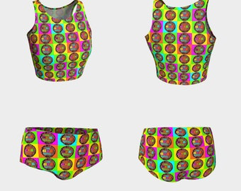 5e60038688 Bathing Suit Swimwear Cake Food Shorts Crop Top Women Teen Clothing Clothes  Top Bottoms Beach Pool Summer Swim
