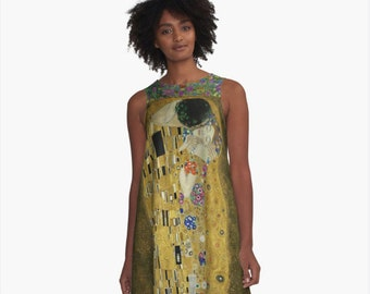 aaf16e2272371 The Kiss by Gustav Klimt A-Line Dress Trapeze XS S M L XL 2XL Art Woman  Teen Wearable Art Clothing