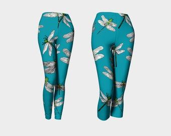 809b76b9ec8 DRAGONFLIES Leggings Insect Nature Bug Biology Blue Green Yellow  XS-S-M-L-XL Wearable Art Clothes Women Teen Pants Clothing FashionTights