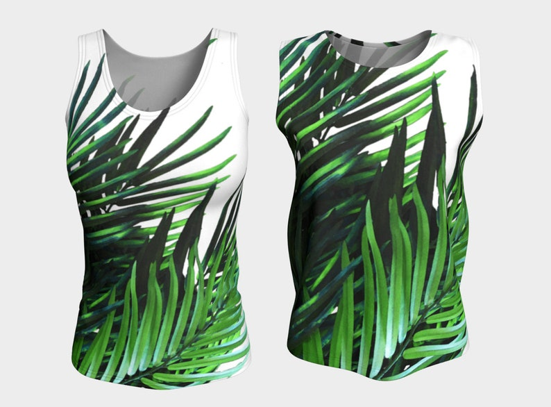 ddf1e9cae Palm Tree Tank Top XS-S-M-L-XL Fitted Loose Tropical Green | Etsy