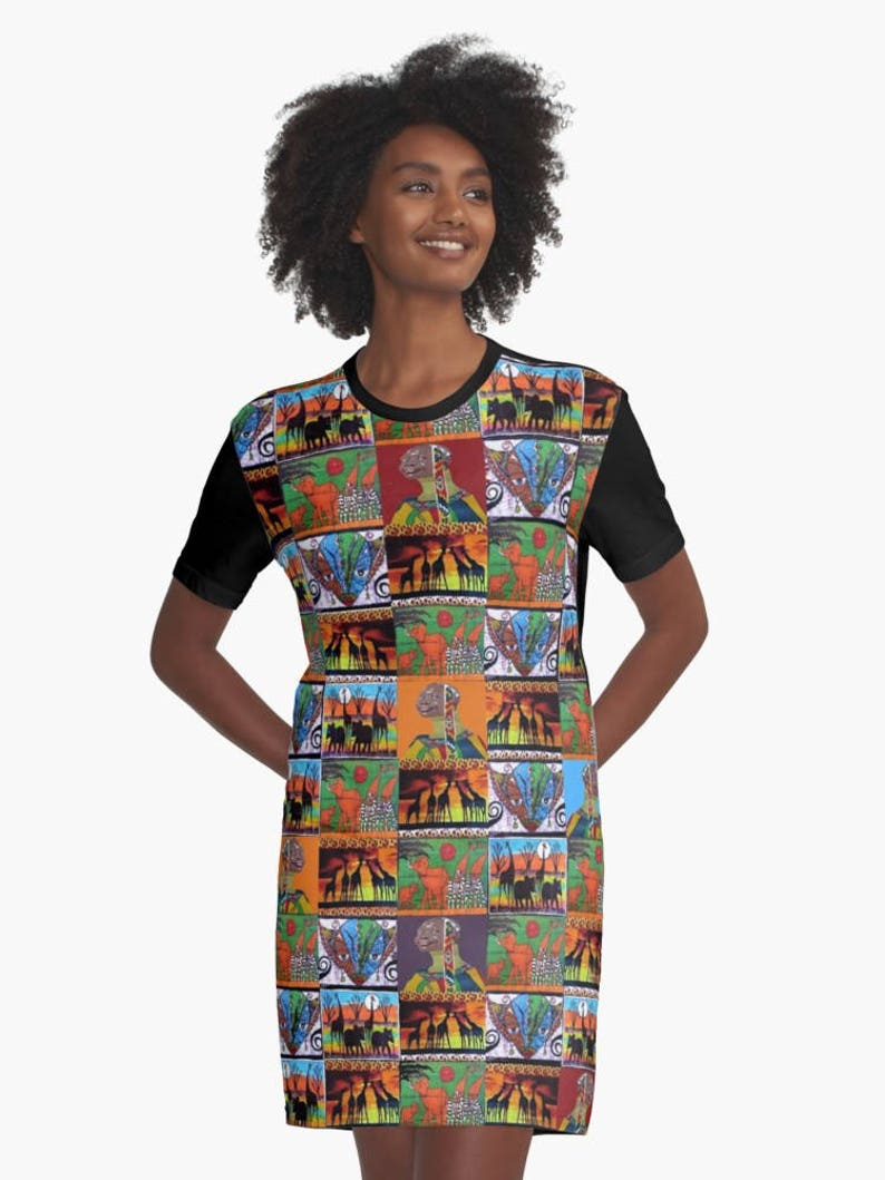 a4390d43c48 Visions Of Africa T-Shirt Dress XS S M L XL 2XL African Print