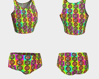 Happy Birthday! Bathing Suit Swimwear Cake Food Shorts Crop Top Women Teen Clothing Clothes Top Bottoms Beach Pool Summer Swim