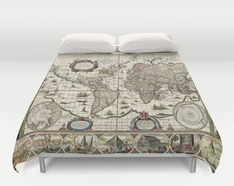 Contemporary bedding etsy old world map duvet cover doublefullqueenking bedding bedroom bed home gumiabroncs Choice Image