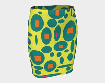 RETRO  Pencil Skirt XS-S-M-L-XL Pink Yellow Orange Turquoise Blue Clothes Wearable Art Clothing Women Bottoms Stretch Skirts
