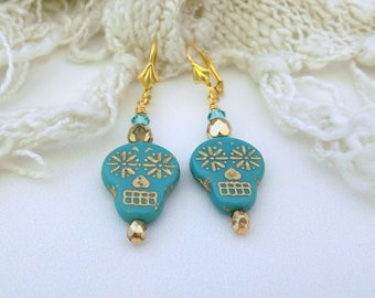 Sugar Skull Earrings Day of the Dead Turquoise Metallic Gold Earrings Sugar Skull Jewelry Halloween Earrings Gift for Her