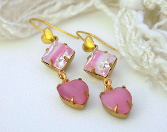 Pink Earrings Vintage Pink Brass Earrings Glass Heart Earrings  Art Deco Earrings Mother's Day Gift for Her Gift Wrap