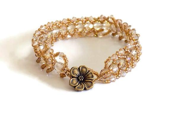 Honey Gold Crystal Beaded Bracelet Seed Bead Bracelet Spiral Woven Gold Bracelet Wedding Jewelry Anniversary Gift for Her