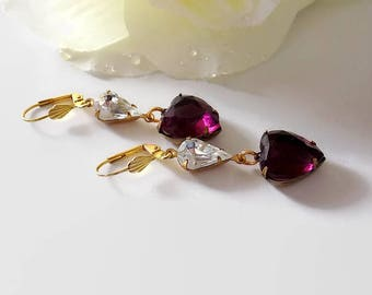 Amethyst Heart Earrings  Heart Purple Earrings Victorian Style Gift for Her Mother's Day Gift Wrap