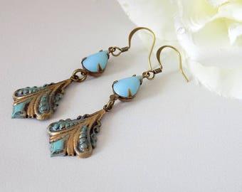 Light Blue Teardrop Earrings Blue  Earrings  Antique Bronze Verdigris Earrings Victorian Style Summer Jewelry Girlfriend Gift