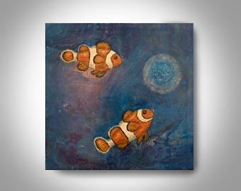 Clown Fish Painting 24 x 24 Painting, Fish Painting, Wall Art, Home Decor, Canvas Art, Art by Brian Hill