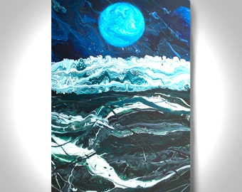 Rough Seas at Night- Acrylic Abstract Painting - 36 x 24 Painting , Canvas Painting,Wall Painting, Modern Art,  Art by Brian Hill