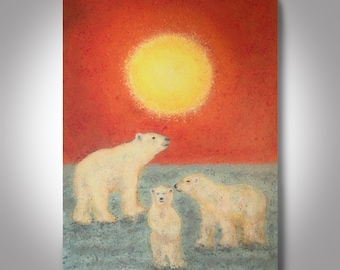 """Polar Bear Painting - 24'' x 18''    Canvas Painting, Wall Painting, """"Together in the Sun"""", Art by Brian Hill"""