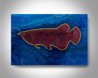 Acrylic Arowana Painting - 36 x 24 Fish  Painting , Canvas Painting, Wall Painting, Home Decor, Art by Brian Hill,