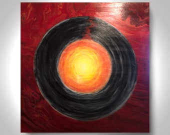 Mars and Venus Acrylic Abstract Painting 36 x 36 Enso Painting, Red Painting, Wall Art, Canvas Art by Brian Hill