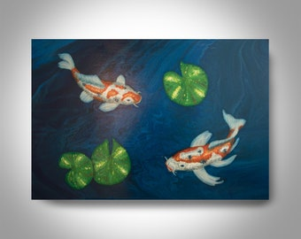 Acrylic Koi Painting - 36 x 24 Water  Painting , Canvas Painting, Wall Painting, Home Decor, Art by Brian Hill,