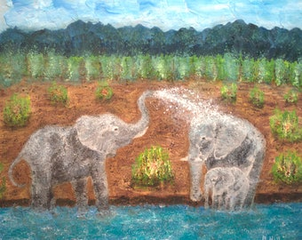 Elephant Painting - 24'' x 20'' , Canvas Painting, Wall Painting, Home Decor, Art by Brian Hill