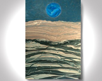 Silvery Sea- Acrylic Abstract Painting - 36 x 24 Painting , Canvas Painting, Wall Painting, Modern Art,  Art by Brian Hill