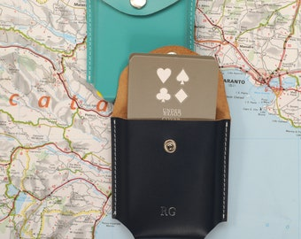 Personalised  Leather Case With Playing Cards