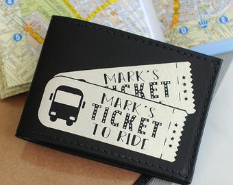 Personalised Recycled Leather Travel Card Holder
