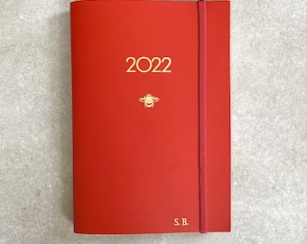 2022 diary recycled leather handmade - Elastic fastening, vertical columns
