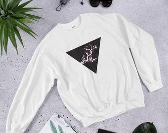 f791c9da0c43c5 Cherry Blossom Sakura Triangle - Japanese Sweatshirt japanese tree triangle  sweatshirt geometry streetwear japanese fashion streetwear