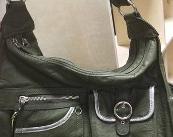 Steampunk Scholar Book Bag - Victorian Librarian Satchel - Green Silver Military Style - Messenger Bag