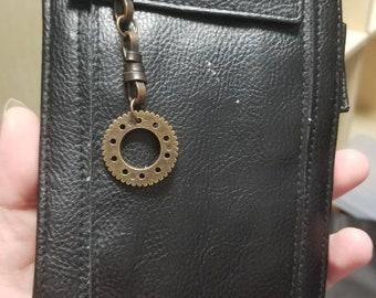 Steampunk Travel Wallet - Copper Gear Purse - Victorian Handbag - Black Brown Clutch - Wasteland Accessories