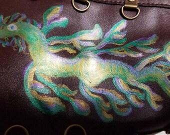 Iridescent Leafy Seadragon Parasol Holster - Mermaid Parasol Sling - Umbrella Carrier - Steampunk Quiver