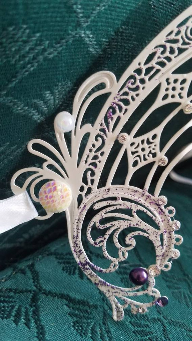 Ice Angel Light Fury Cosplay Helmet- Iridescent Masquerade Mask Birth of Venus Mermaid Costume Accessories Aphrodite Headdress